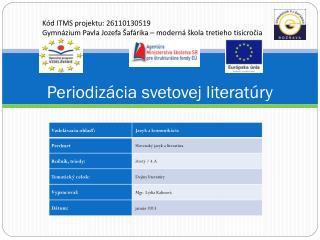 Periodizácia svetovej literatúry