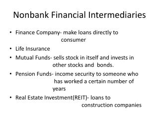 Nonbank Financial Intermediaries