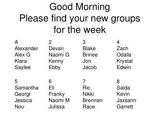 Good Morning  Please find your new groups for the week