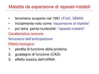 Malattie da espansione di  repeats  instabili