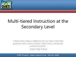 Multi-tiered Instruction at the Secondary Level