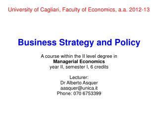 University of Cagliari, Faculty of Economics, a.a. 2012-13