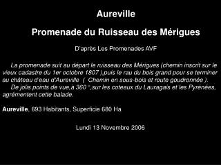 Aureville Promenade du Ruisseau des Mérigues D'après Les Promenades AVF