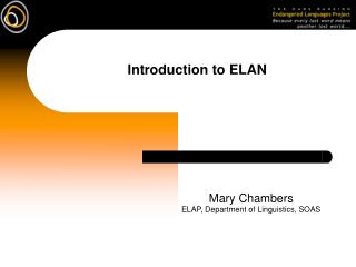 Introduction to ELAN