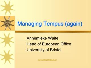 Managing Tempus (again)