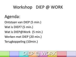 Workshop DIEP @ WORK