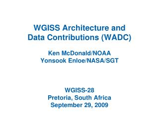 WADC Agenda