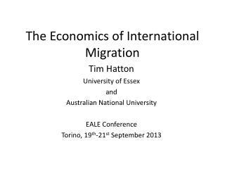 The Economics of International Migration