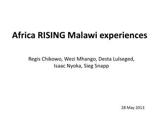 Africa RISING Malawi experiences