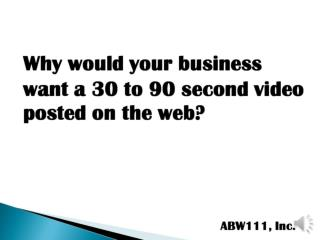 Boost Sales with a Web Video