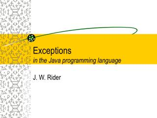 Exceptions in the Java programming language