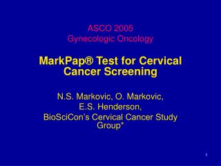 ASCO 2005 Gynecologic Oncology