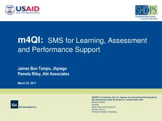 m4QI: SMS for Learning, Assessment and Performance Support