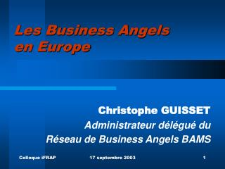 Les Business Angels  en Europe