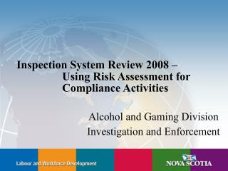 Inspection System Review 2008      Using Risk Assessment for     Compliance Activities