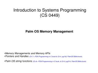 Introduction to Systems Programming CS 0449