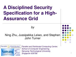 A Disciplined Security Specification for a High-Assurance Grid
