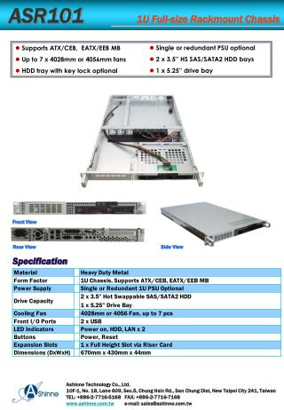 ASR101           1U Full-size  Rackmount  Chassis