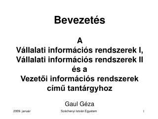 Bevezet és A  Vállalati információs rendszerek I, Vállalati információs rendszerek II és a