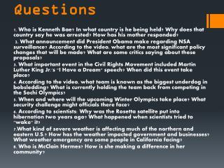 CNN Student News Questions