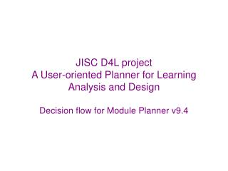 Decision flow for Module Planner v9.4