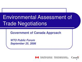 Environmental Assessment of Trade Negotiations