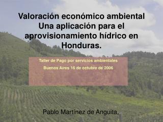 Valoración económico ambiental  Una aplicación para el aprovisionamiento hídrico en Honduras.