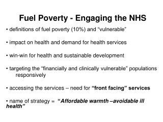 Fuel Poverty - Engaging the NHS