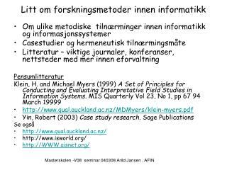 Litt om forskningsmetoder innen informatikk