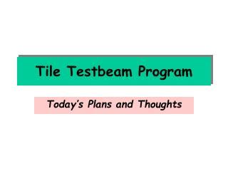 Tile Testbeam Program