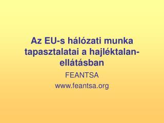 Az EU-s hálózati munka tapasztalatai a hajléktalan-ellátásban