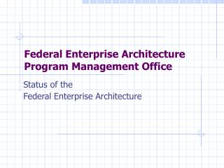 Federal Enterprise Architecture  Program Management Office