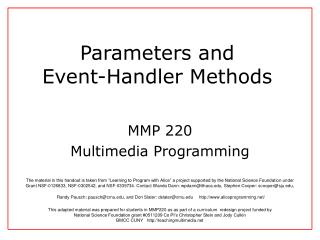 Parameters and  Event-Handler Methods