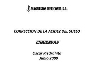 CORRECCION DE LA ACIDEZ DEL SUELO ENMIENDAS Oscar Piedrahíta  Junio 2009