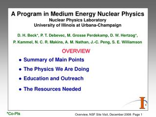 Summary of Main Points The Physics We Are Doing Education and Outreach The Resources Needed