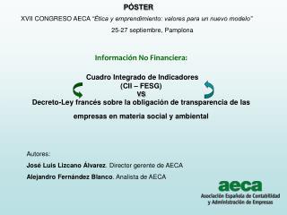 Autores: José Luis Lizcano Álvarez . Director gerente de AECA