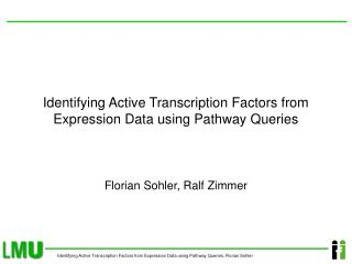Identifying Active Transcription Factors from Expression Data using Pathway Queries