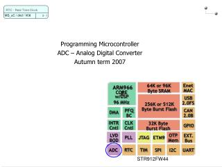 Programming Microcontroller ADC – Analog Digital Converter Autumn term 2007