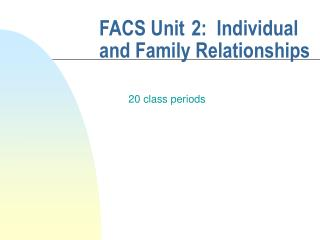 FACS Unit 2:  Individual and Family Relationships