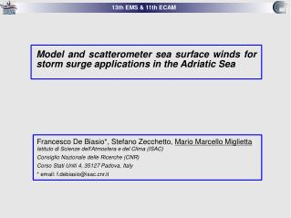 Model and scatterometer sea surface winds for storm surge applications in the Adriatic Sea