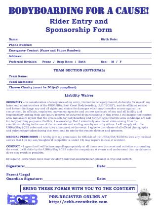 Rider Entry and Sponsorship Form