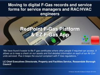 Moving to digital F-Gas records and service forms for service managers and RAC/HVAC engineers