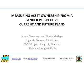 MEASURING ASSET OWNERSHIP FROM A GENDER PERSPECTIVE CURRENT AND FUTURE PLANS