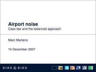 Airport noise Case law and the balanced approach