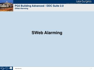 PG5 Building Advanced / DDC Suite 2.0 SWeb Alarming