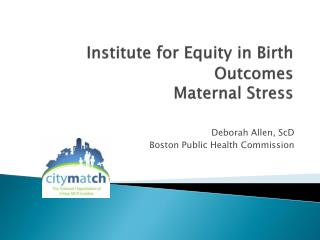 Institute for Equity in Birth Outcomes  Maternal Stress