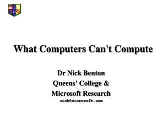What Computers Cant Compute