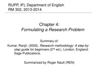 RUPP, IFL Department of English RM 302, 2013-2014