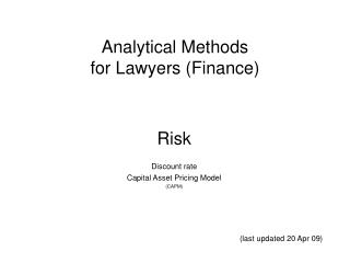 Analytical Methods for Lawyers (Finance)