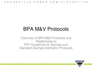 BPA M&V Protocols